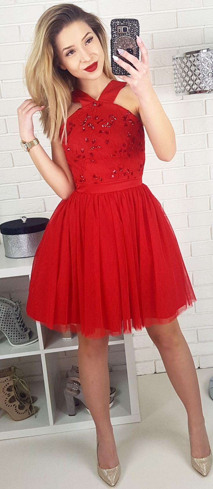 Tiulowa czerwona sukienka Tulle red dress