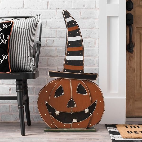Halloween Forum 2020 Kirklands Orange Wood Jack O' Lantern with Witch Hat from Kirkland's in 2020