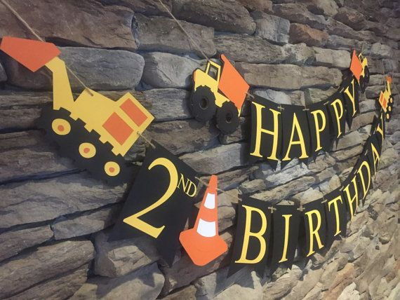 Construction Birthday Banner Dump Truck by MarinasCraftShop
