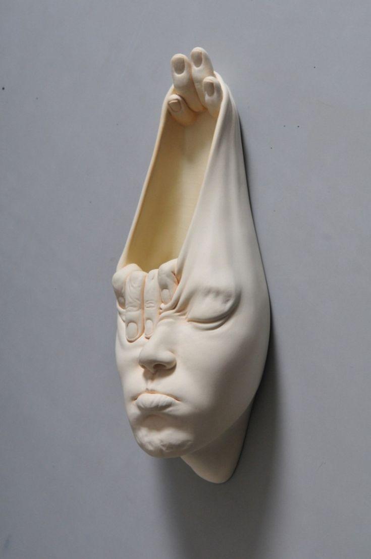 Open Mind surreal face sculpture by Johnson Tsang Chinese art - Chinese sculpture - Asian contemporary art - Face art - Inspiration - My Modern Met - Porcelain