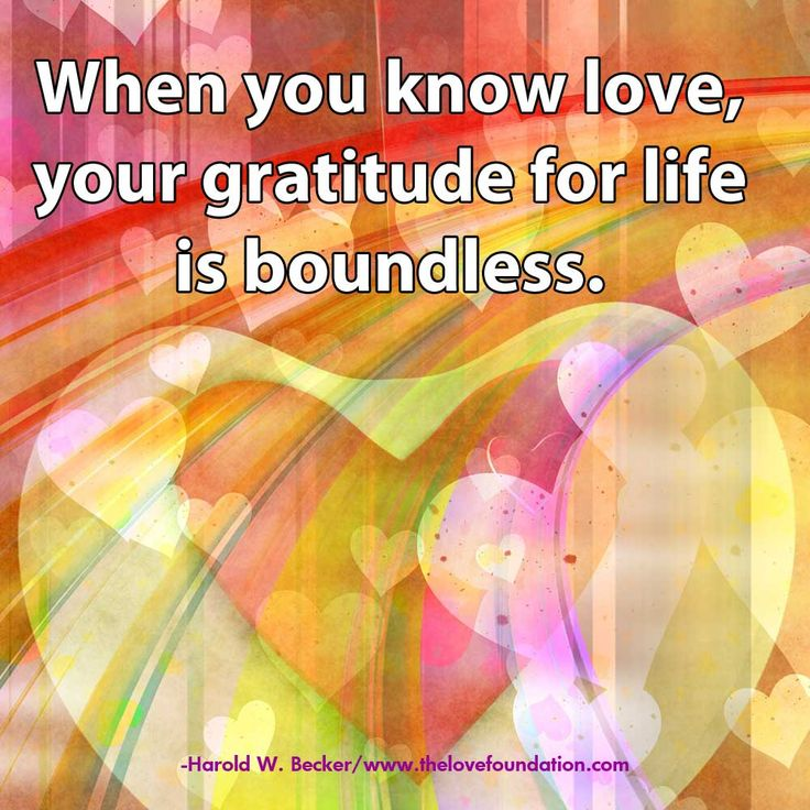 When you know love, your gratitude for life is boundless.-Harold W. Becker #UnconditionalLove