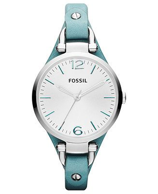 Fossil Watch, Women's Georgia Teal Leather Strap 32mm ES3221 - All Watches - Jewelry  Watches - Macy's