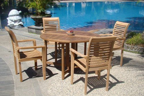 Grade a teak wood luxurious pc dining set quot round
