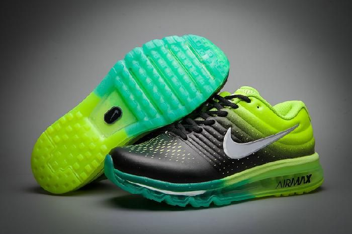 Clearance Nike Air Max 2017 Leather Black Fluorescent Green Sports Sneakers New - $69.89