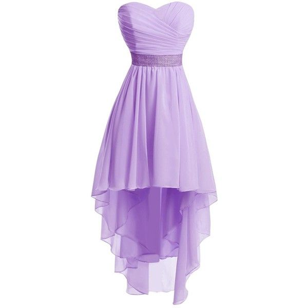 Chengzhong Sun Women High Low Lace Up Prom Party Homecoming Dresses (£30) ❤ liked on Polyvore featuring dresses, high low dresses, purple cocktail dresses, purple homecoming dresses, prom dresses and high low prom dresses