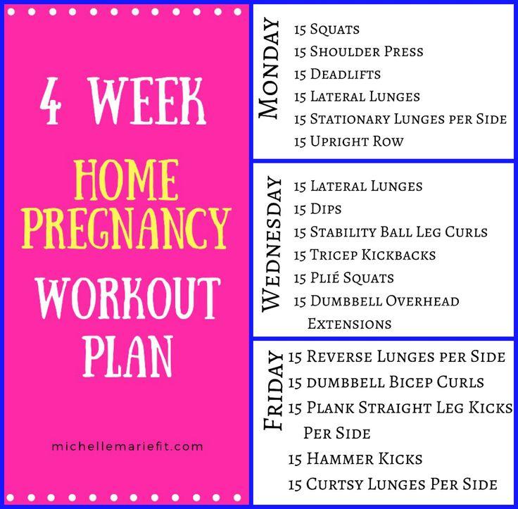4 week home pregnancy workout plan.  http://michellemariefit.com/4-week-pregnancy-workout-plan/