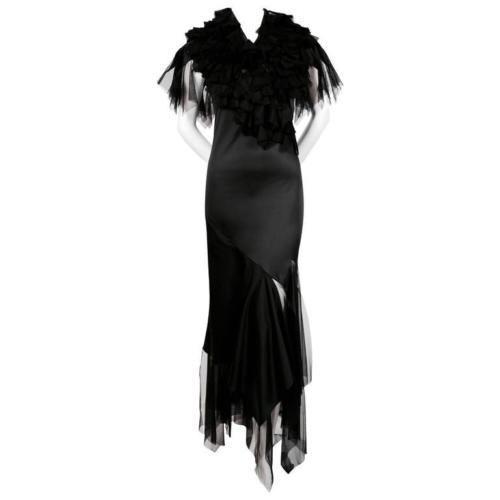 ALEXANDER-McQUEEN-RARE-Black-Dress-with-Tulle-Ruffles-amp-Spiral-Zipper-IT-42-UK-10