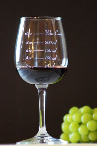 Calorie Counting Wine glass. Mine would always be at Who Cares (sold by CaloricCuvee on Etsy)