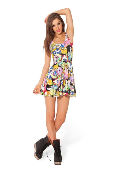 Adventure Time Bro Ball Reversible Skater Dress › Black Milk Clothing ---A little short tho