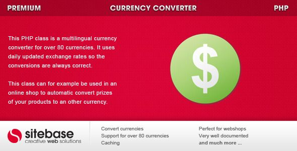 Currency Converter . Currency has features such as Software Version: PHP 5.x, PHP 5.0 - 5.2, PHP 5.3