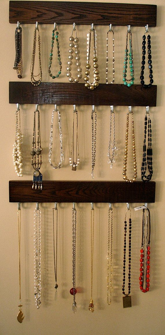 Make use out of that extra wall in your closet! #jewelry #DIY: Modern Walks In Closet Ideas, Costumes Storage Ideas, Hanging Jewelry Organizations, Keys Hooks Ideas, Coats Racks Ideas Diy, Diy Walks In Closet Ideas, Hanging Jewelry Organizer, Costumes Jewelry Necklaces, Modern Jewelry