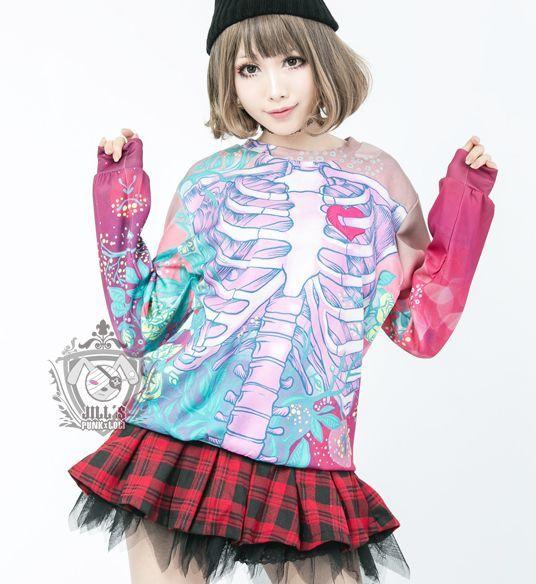 Harajuku skeleton t-shirt SE8970