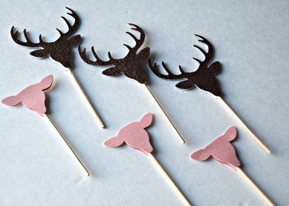 Deer Cupcake Picks / Doe or Buck Cupcake Topper / Gender Reveal Cupcake Picks…