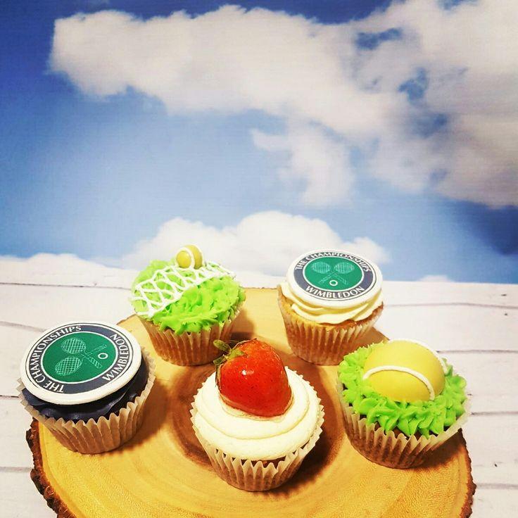 Wimbledon themed cupcakes #wimbeldon #cupcakes #themedcakes #bespoke #madetoorder #tennis #british #summertime