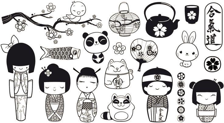 Coloriage petit monde kokeshi