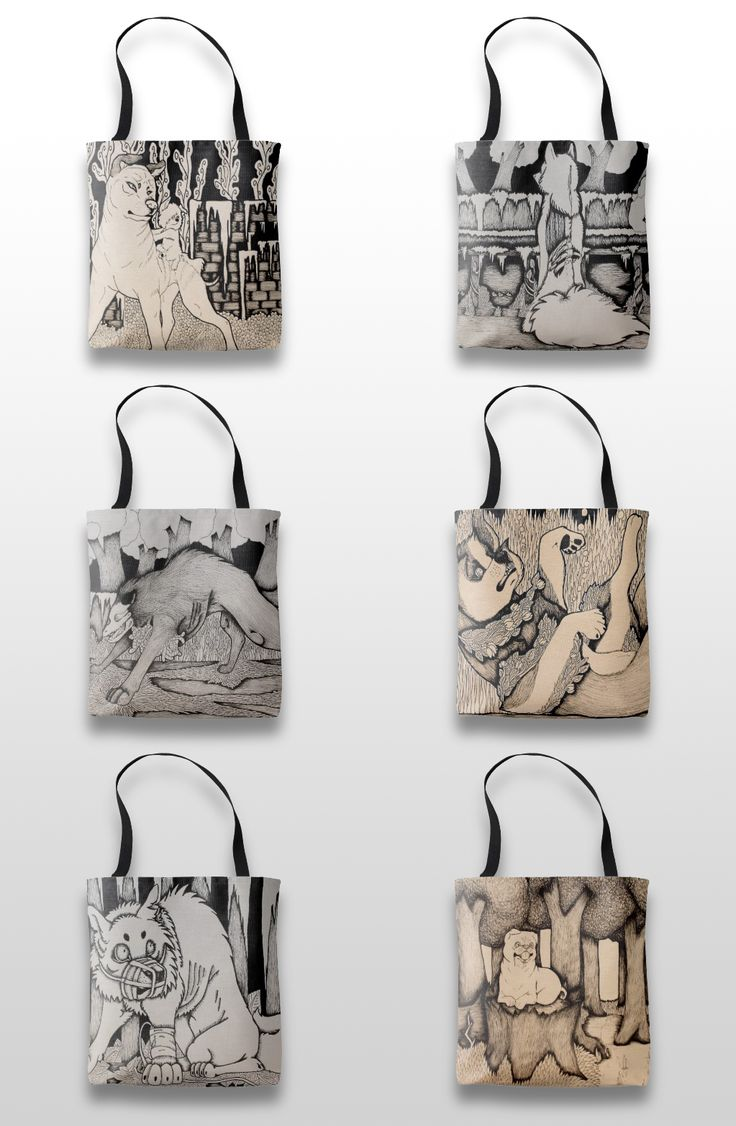 Black and white illustrated dog and wolf tote bags #art #illustration #products