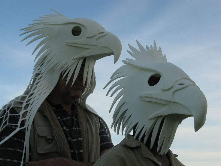 /Eagle Mask for Helsinki Festival Finland - No one needs feathers to make bird masks and those who kill animals to pretend they are shamans are cursed - many ethical animal masks at this link - http://www.pinterest.com/burcutronics/b-diorama/