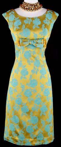 50s Blue Gold Floral Wiggle Dress Jacket Coat, courtesy of moda.com