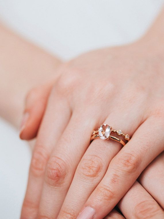Trending Rose Gold Morganite Engagement Ring Oval Solitaire Wedding