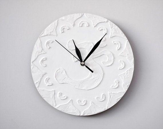 #om #white #spiritual #buddhism White wall clock White clock Modern WALL CLOCK White wall