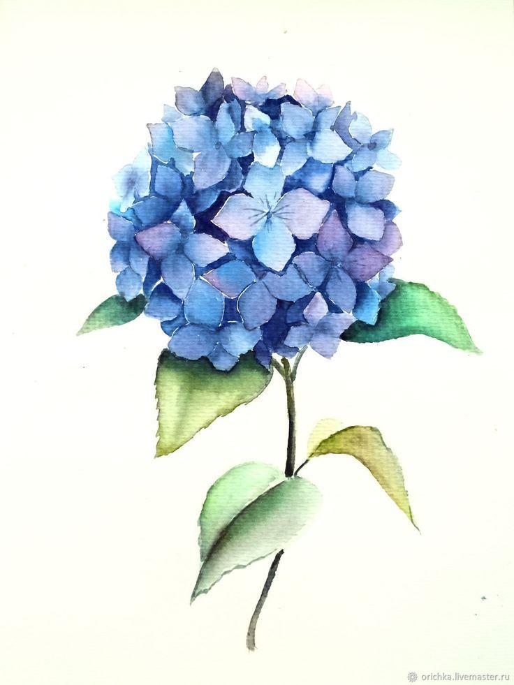 Painting Watercolor Hydrangea Kupit Na Yarmarke Masterov F2xnxcom Kartiny Novosibirsk Product Th Watercolor Hydrangea Blue Flower Painting Flower Drawing