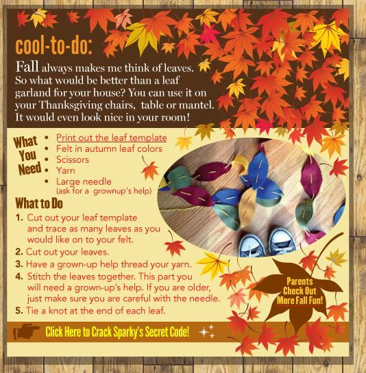 Autumn Leaf Decorations are Sparky's Cool to Do activity!