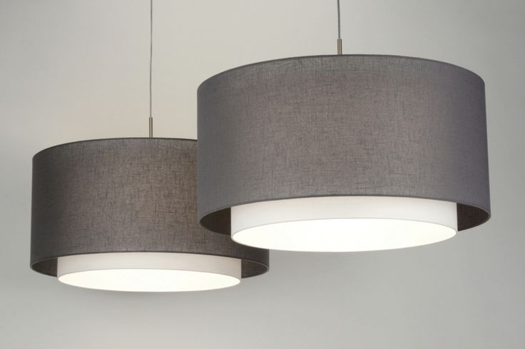 Hanglamp 30420 modern design staal rvs stof antraciet wit rond langwerpig