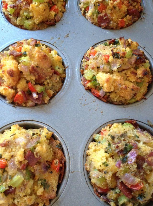 The Chew: Carla Hall's Cornbread and Sausage Stuffin  Muffin Recipe  link http://www.recapo.com/the-chew/the-chew-recipes/the-chew-carla-halls-cornbread-and-sausage-muffin-stuffin-recipe/