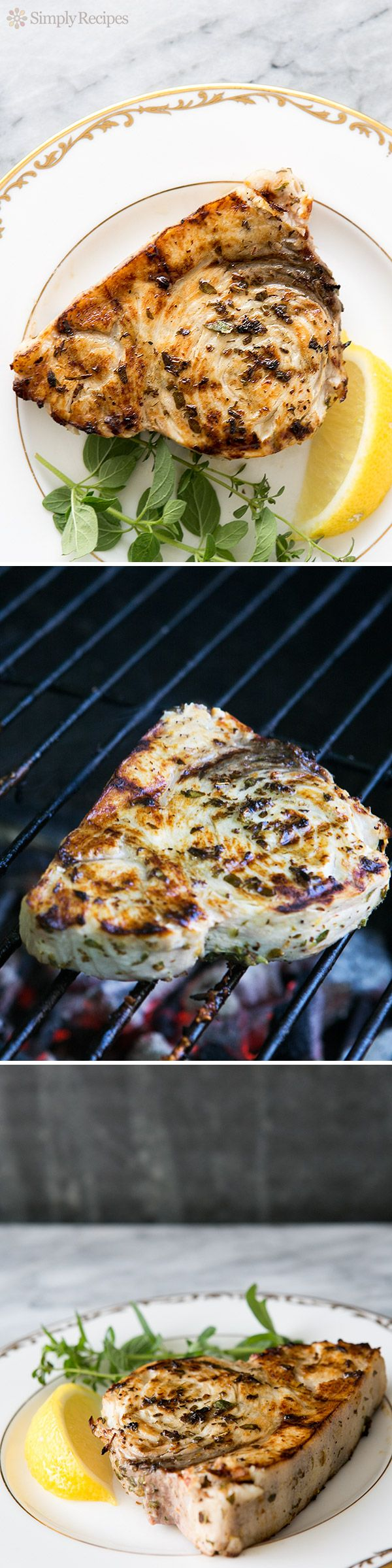Grilled Swordfish Steaks with Lemon Oregano Marinade ~ Grilled swordfish steaks that have marinated in olive oil, lemon juice, oregano, thyme and garlic ~ SimplyRecipes.com