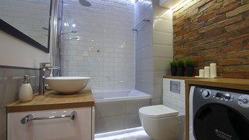 Mieszkanie 50m - Mała łazienka na poddaszu w bloku w domu jednorodzinnym bez okna, styl skandynawski - zdjęcie od Magdalena Kruczyk 2