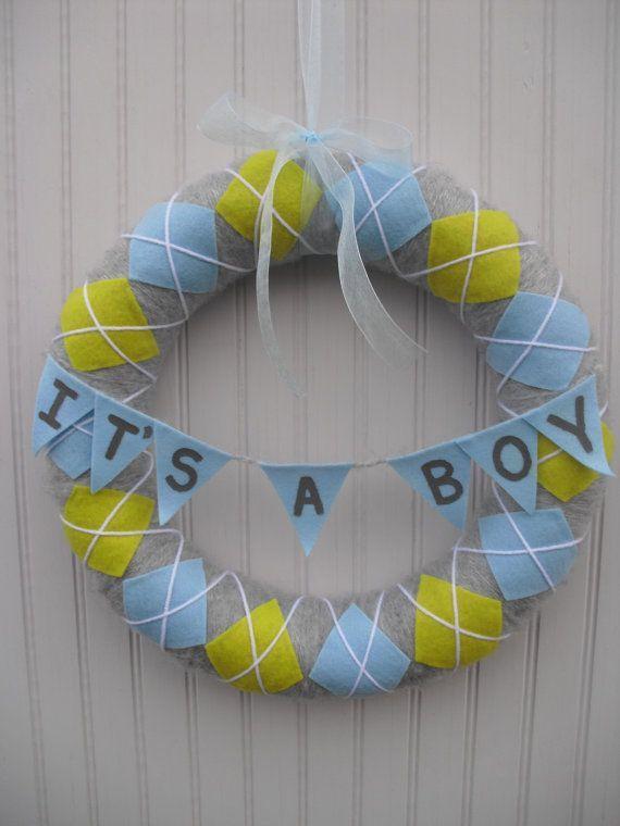 Baby Boy Wreaths | Baby Boy Argile Wreath Its A Boy by ATPitman on Etsy, $30.00