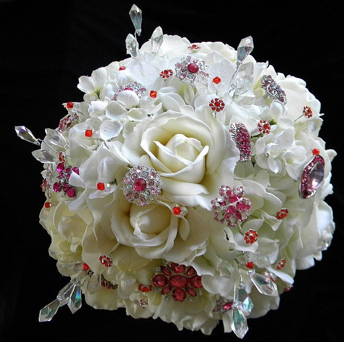 Blue Lily Bridal: Gorgeous Ivory, Hot Pink and Tangerine Rhinestone Bling Bridal Bouquet with Real Touch Roses. $280.00