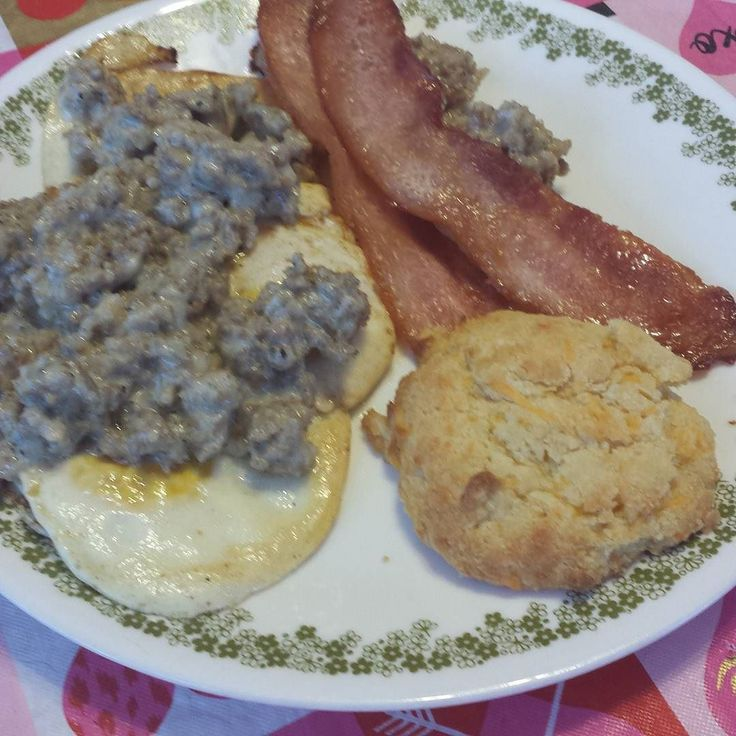 Wayyy more than I ended up being able to eat. Eggs sausage gravy made with carquik and heavy whipping cream bacon and cheddar biscuit (carbquik) #ketogenicdiet #keto #ketogenic #lowcarb #lchf #lowcarbhighfat #weightloss #weightlossjourney #atkins #atkinsdiet by keto.in.ohio