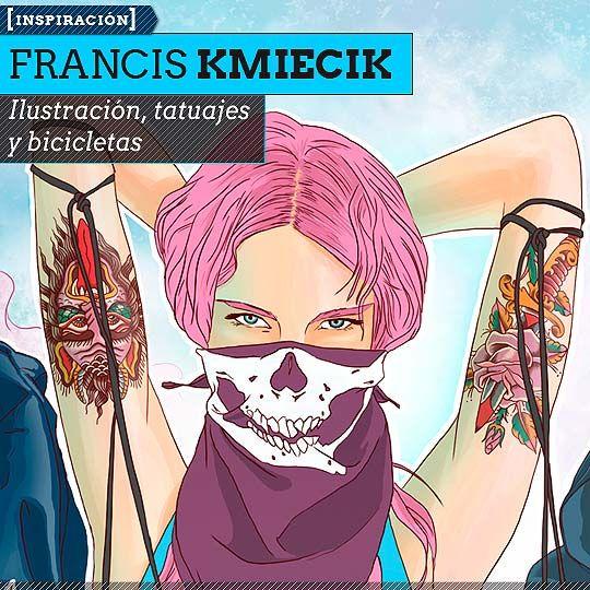 Ilustración, tatuajes y bicicletas de FRANCIS KMIECIK Dibujos e ilustraciones coloridas, de mujeres tatuadas sobre bicicletas, desde Estados Unidos.  Leer más: http://www.colectivobicicleta.com/2013/06/Ilustracion-de-FRANCIS-KMIECIK.html#ixzz2XXkBhB7G