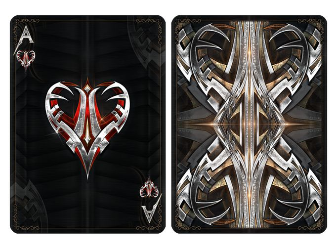 From the creators of the Dark Templar playing cards comes a new deck inspired by hard cold metal: Bicycle® Steel. Made by Cardicians.