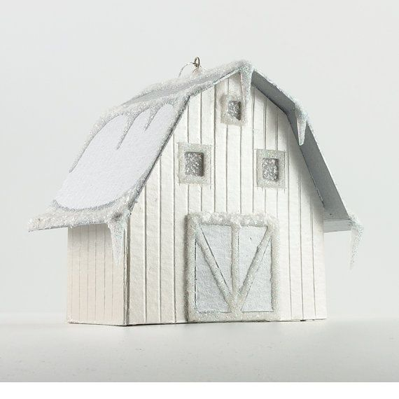 My barn is crafted using only traditional materials: archival paper, vellum and ground-glass glitter. Measures approx. 3 by 2 by 3 in. Hanging string attached. Ships in a gift box with tissue paper. My craftsmanship is superb and my ornaments are heirloom-quality and will last for