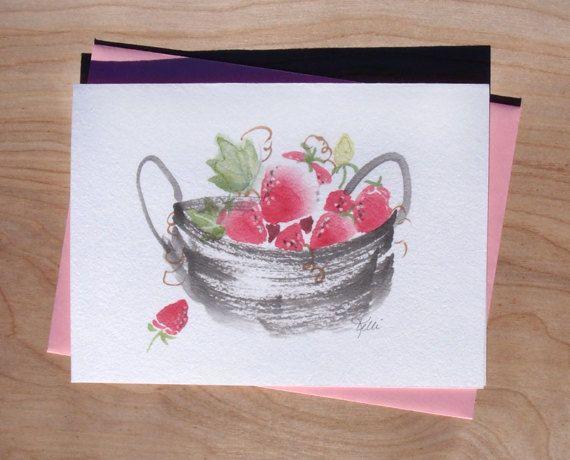 ORIGINAL Chinese Brush Sumi-e Strawberry by KelliMcNicholsArt