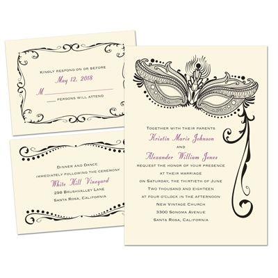 Masked Mystique 3 for 1 Wedding Invitation - Ecru | Cheap Invites at Invitations By Dawn
