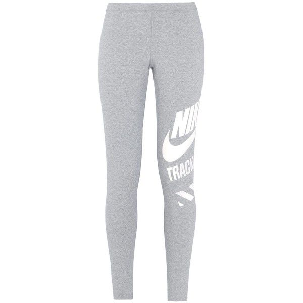 Nike Leggings ($74) ❤ liked on Polyvore featuring pants, leggings, bottoms, jeans, sport, light grey and nike