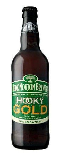 Cerveja Hook Norton Hooky Gold, estilo Extra Special Bitter/English Pale Ale, produzida por Hook Norton Brewery, Inglaterra. 4.2% ABV de álcool.