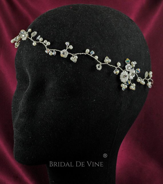 Boho Bridal Hair Vine Forehead Halo Headband made by BridalDeVine