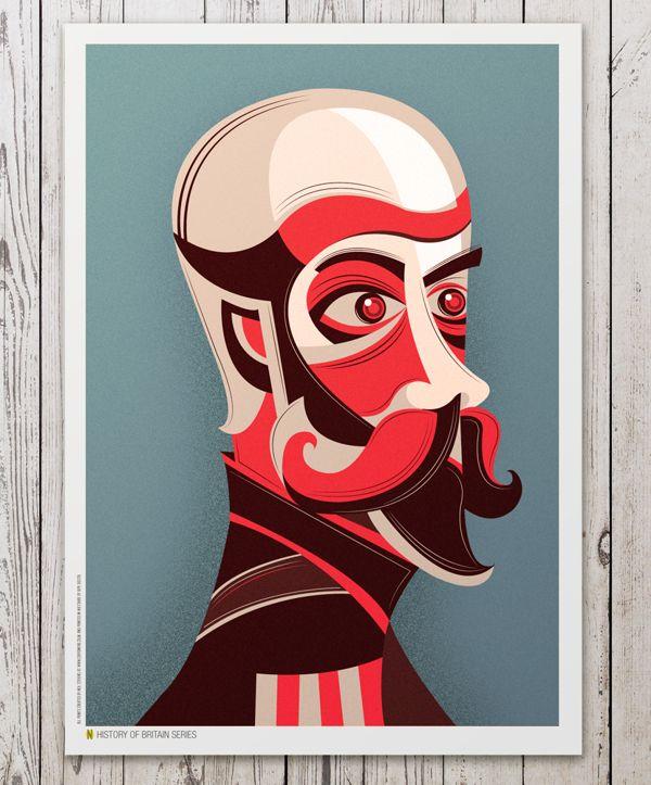 History of Britain Portraits by Neil Stevens, via Behance