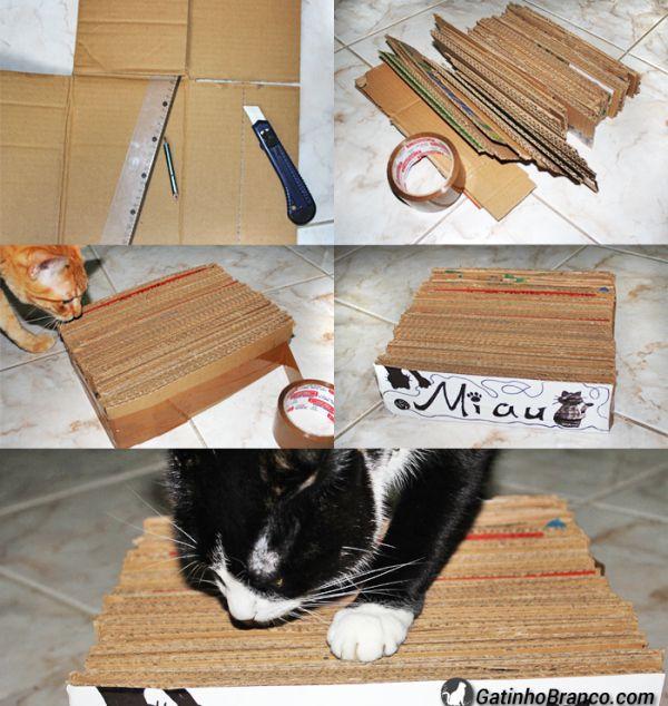 Arranhador caseiro de papelão