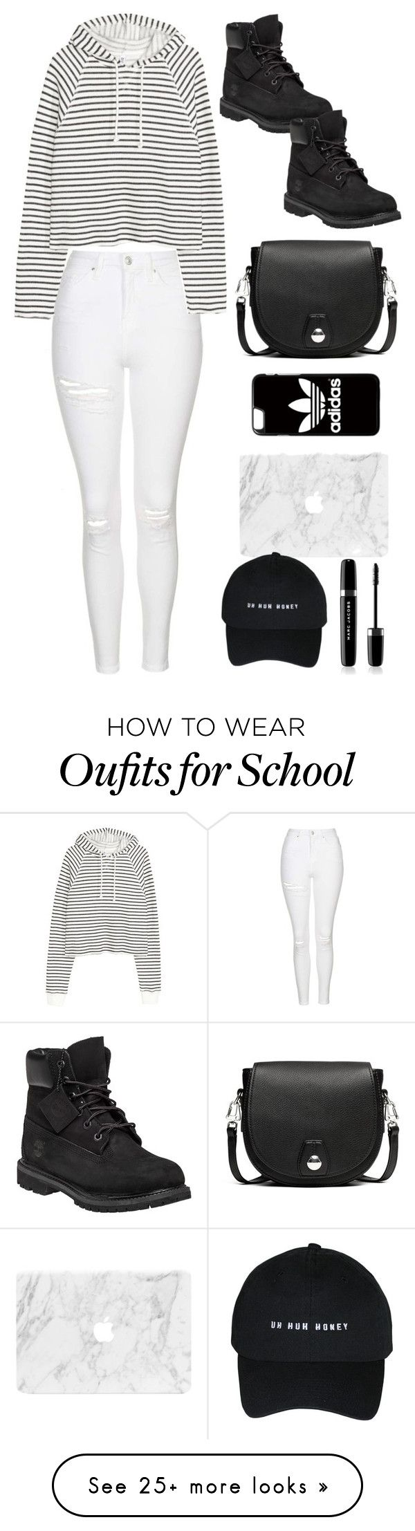 """outfit for school"" by katgorostiza on Polyvore featuring Topshop, Timberland, rag & bone, adidas and Marc Jacobs"