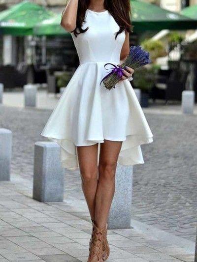 Short homecoming dress,white homecoming dress,hi-lo homecoming dress,freshman homecoming dress,graduation dress,formal dress PD211092