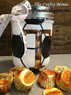 Soccer Ball Painted Mason Jar using Acrylic Paints; Great Gift!; The Crafty Mimic