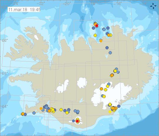Ostrzeżenia - Trzęsienia ziemi -Islandia