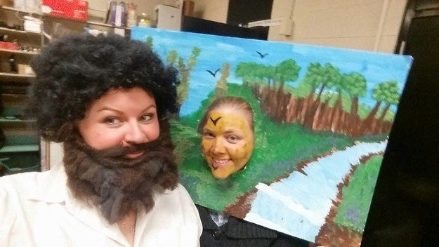 Bob Ross and painting | 31 Two-Person Costume Ideas That'll Up Your Halloween…