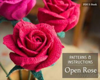 Crochet Rose Pattern Crochet Flower Applique by HappyPattyCrochet