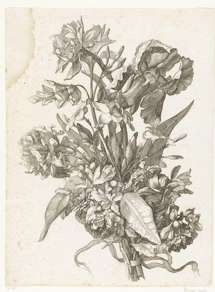 Boeket met een narcis, sinasappelbloesem of jasmijn en een iris, Jacques Bailly (I), c. 1670